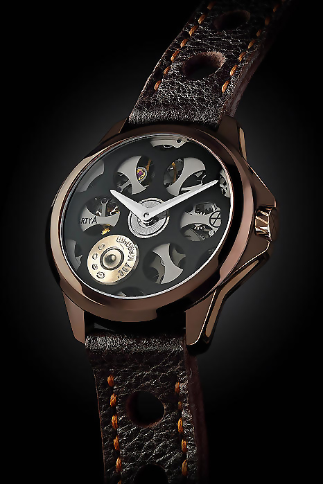 2015 new skeleton watch ArtyA Russian Roulette Chocolate2
