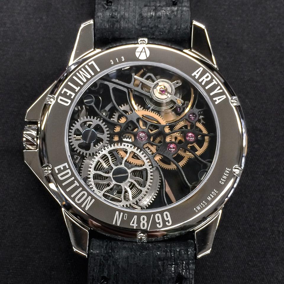 高級時計ブランド アーティアのスケルトン Shams Black
