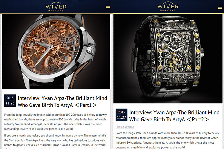 Yvan ArpA Interview in WIVER MAGAZINE