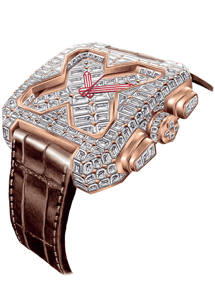 GVCHIANI Big Square Rose Gold Full Diamonds Tourbillon